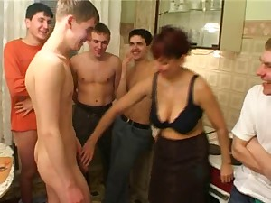 Birthday twink bonks his friend's mama with males