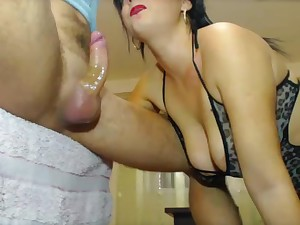 Wife deepthroats and gags on man's dick