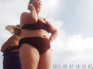 Russian Older Breasty on the beach! Amateur!
