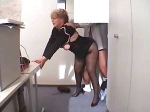 Office Granny Drilled  in nylons