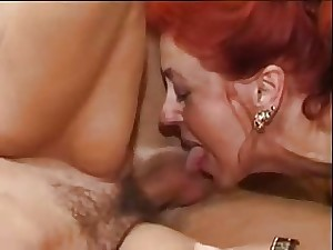 German bushy sorrel and brunette hair matures sharing a penis