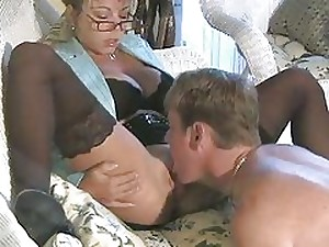 Hawt Breasty Golden-haired Cougar Amber Lynn Group-fucked