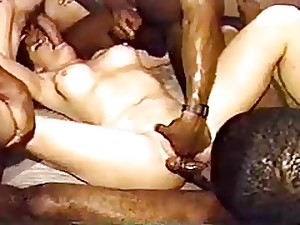 White Floozy In A Coarse BBC Group-sex