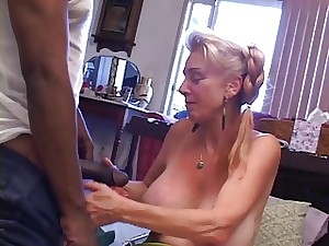Granny receives creampied by youthful BBC
