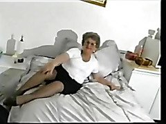 Obscene granny shows off and masturbates